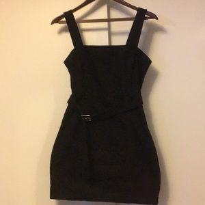 F21 black denim overalls dress medium